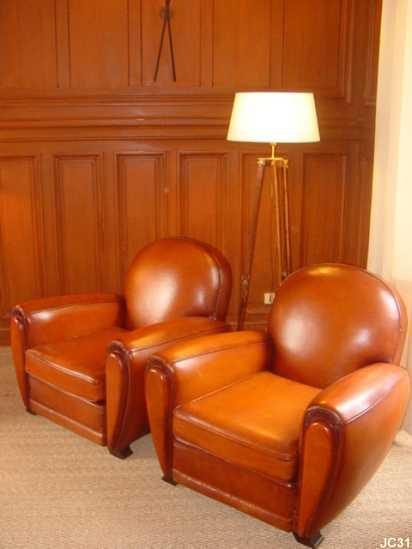 Paire de fauteuils deauville vers 1930 mod le art d co for Fauteuil club art deco
