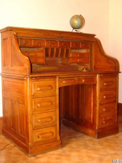 bureau am ricain cylindre vers 1930. Black Bedroom Furniture Sets. Home Design Ideas
